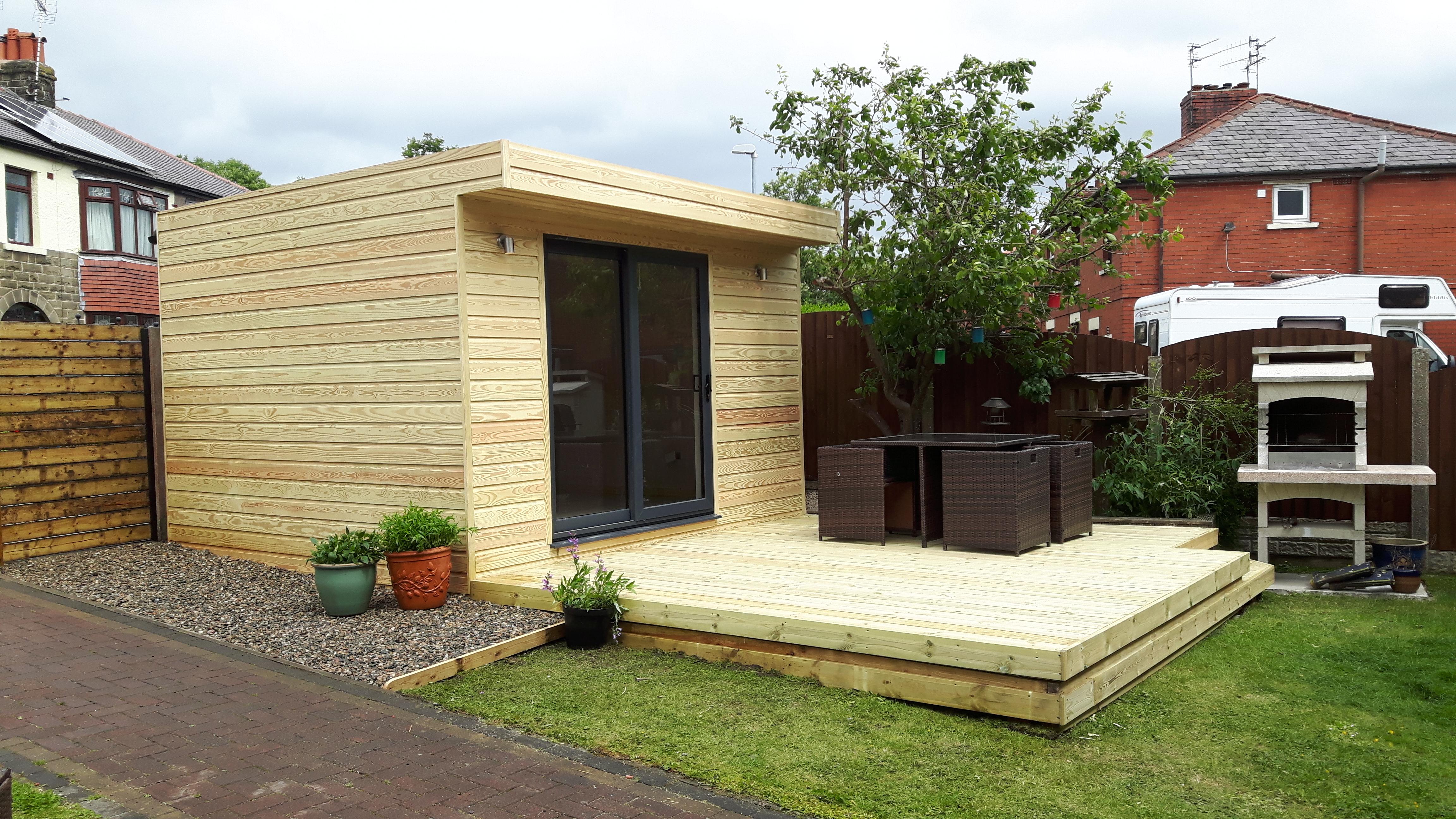 outdoor office in unfinished SYP shiplap
